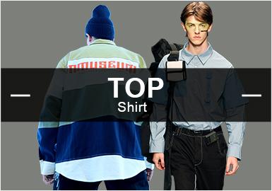 9月份款式库中衬衫单品流行方向分析,时尚休闲类有一定下降趋势,商务风格相比上月持平缓速度增长。街头潮牌风格有下降趋势。图案元素类格纹、条纹以及字母元素依然占据主导地位。工艺类拼接设计、印花元素和贴布绣工艺相比上月都维持不变。白衬衫依然是市场关注度颇高的款式,从市场和秀场来看,灯芯绒款式可多加关注,有望回归。