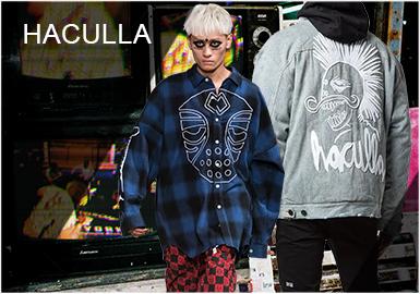 Haculla是潮牌王牌主理Jon Koon联手著名涂鸦艺术家Harif Guzman于2015年1月份所建立的街头品牌。暗黑,诙谐而自由,极富个性风格和鲜明特色。今季的Haculla拒绝平庸麻木视觉的一致性,通过机车夹克、连帽衫、棒球外套、格纹衬衫、T-Shirt这些常见的街头款式,以不同工艺呈现,使品牌再一次得到了戏剧化和艺术性的升华。这也是向纽约历史悠久街头艺术的致敬。