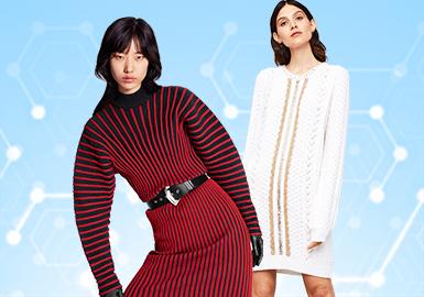 基于用户下载互动数据及专业市场调研综合评选出女装毛衫连衣裙TOP热榜,10月TOP热榜中简欧中淑风格的占比达到51%,少淑女装也增加至34%,前两季关注较高的运动休闲风格在逐渐减少仅占15%。撞色依旧是女装毛衫各个单品中重点关注的细节设计;连衣裙与打底衫一样在设计中会考虑与大衣、风衣等外套类单品的搭配效果,因此领部设计尤为重要,同时对于收腰设计的关注也开始增加;TOP榜中H型连衣裙因简欧中淑的关注较高依旧是热门版型;受小香风开衫流行影响,这一元素在连衣裙也广泛应用;而更具少淑感的X型伞裙也呈现增长趋势,更细腻的工艺表达是重点。