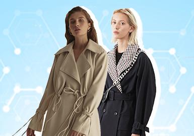 基于POP用户下载互动数据,综合评选出女装风衣单品TOP热榜,近一月风格氛围以中少淑风格占据主体(42%),休闲风格占比第二位(28%),排名第三的工装风格卫衣多为潮牌所选占比18%;整体廓形上,实穿H身形占比较多(38%)其次是彰显腰线的X身形占比20%,A形占比12%;工艺方面除拼接、解构等常见工艺外,本月抽绳也成为用户关注较高的工艺占比18%。
