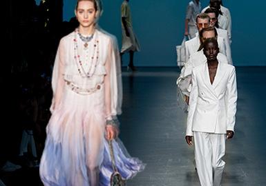 2020早秋時裝周的風格以優雅都市和極簡棉麻風格占據主導,輕熟少女占有21%、休閑學院占有8%、輕運動占有4%。2020早秋時裝周的單品占比中連衣裙位于第一名,相較于19早秋呈現上漲趨勢,其實為外套(包含西裝、夾克、大衣),襯衫在本季明顯增多,而T恤、半裙、套裝有明顯的下降。