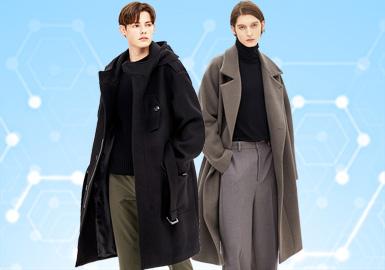 根据POP12月份用户下载量的TOP100男装大衣数据分析,商务休闲男装占据主导地位,时尚休闲以18%的比例位居第二。廓形上以连帽、西装领大衣为主,同时格纹图案成为主要的装饰性图案。辅料装饰和内里结构成为未来设计趋势亮点。