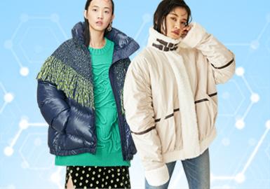 根据POP1月用户下载量TOP10女装棉/羽绒数据分析,其中时尚休闲为本月内重点关注风格(41%),简约中淑占比次之(38%),少淑女风在本月有所下滑(21%)。廓形上以面包服与收腰款式成为主流方向,工艺运用上多以拼接和结构为主。