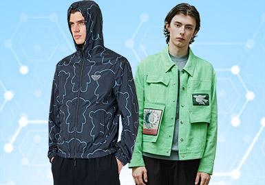 根據POP1月份用戶下載量的TOP100男裝夾克數據分析,戶外運動類上升趨勢明顯,時尚休閑和運動休閑類風格有一定下降趨勢,連帽夾克依舊是最受歡迎的款式,其次是翻領夾克,棒球領夾克有一定的回歸趨勢。防護功能面料設計的款式在本月關注度頗高,而隨著疫情的發生,具有功能性的面料或款式設計也會越來越受到關注。工藝方面還是以色塊和異質拼接為主。