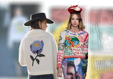在20/21秋冬發布會中,女裝毛衫款式在圖案上更加注重趣味化的設計。設計師運用刺繡或者掛毛的手法豐富動物植物類的圖案細節,使圖案看上去更加細膩。民俗風類型的圖案很值得關注,傳統民俗圖案放大使用的手法讓人眼前一亮。還有個性十足的插畫類圖案在毛衫上的運用也很好看。