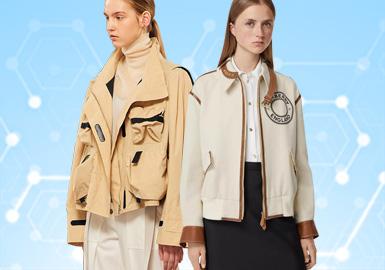 根据POP 2~3月用户下载量TOP100女装夹克数据分析,简约中淑、时尚休闲风格为月内主要关注风格。廓形上应用箱型、翻领成为主流廓形,截短廓形在本月有明显提升,拼接、解构与钉珠工艺关注度依然较高。