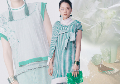 "Mame Kurogouchi是日本设计师Maiko Kurogouchi于2011年创建的时装品牌,善于利用细节、颜色配搭不同的材质来作对比,用以富含美感的设计理念,搭配上具强烈视觉效果的轮廓线条,引出女性刚柔并济的独特气质。2020春夏新品灵感来源于冈田秀幸的《 Tsutsumu》中讲到的""包装的艺术就是包裹您的心"",由此展开多种形式和概念不同的""包裹"",同时将品牌代表性的蚕茧元素融入其中,表达透过轻薄质感物体看到生活物品、自然万物的方式。"