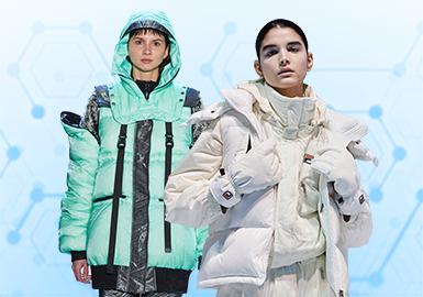 根据POP 3月用户下载量TOP100女装棉/羽绒服数据分析,其中街头潮牌风格、简约中淑风格为月内主要关注风格。廓形上应用直身形和X身形成为主流廓形方向。结构工艺关注度依然较高,秋冬季高领结构关注度也逐渐提升。