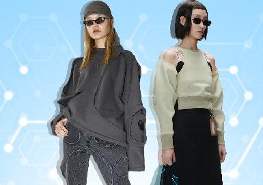 根据POP3月用户下载量TOP100女装卫衣数据分析,先锋潮牌、时尚休闲风格为月内主要关注风格。图案上应用人物、字母印花成为主流图案。拼接、镂空与解构工艺关注度依然较高,荷叶边装饰成为卫衣细节设计的关键。