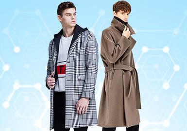 根据POP3月份用户下载量的TOP100男装大衣数据分析,时尚休闲风格相较上月有明显增长,涨幅5%,商务休闲类退居第二位,本月市场也有关注到新锐设计风格。图案类还是以经典的格纹设计为主,拼接设计也占据工艺类的主要地位。