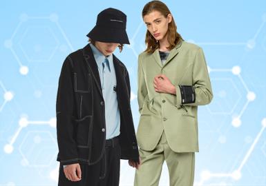 根據POP3月份用戶下載量的TOP100男裝西裝數據分析,商務休閑風格占比高達62%。門襟、領部以及襯里設計尤為突出,同時在面料以及輔料的運用上更加多元,同時也是為了適應現代青年男士們的著裝需要,應對時尚潮流而衍生出新的設計理念。