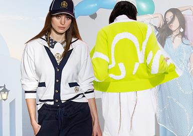 在欧美地区中,女装毛衫的风格类型以简欧中淑与时尚休闲为主,本篇报告中将选取PortsPURE、Elisabetta Franchi、Tommy Hilfiger这三个代表品牌作重点分析,突出时尚休闲风格下的关键设计点,以2020春夏系列共同的清新度假风与轻快、乐趣的潮流元素为主线,通过对比边饰、变化条纹、线面结合等工艺细节带来这篇综合报告。