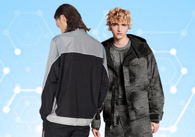 根据POP4月份用户下载量的TOP100男装夹克数据分析,运动休闲风格占比相对较高,其他风格整体倾向运动化。款式结构上更多偏向实用功能性,在面料以及辅料的运用上科技感显得尤为突出,同时为了兼备实用性与时尚感,满足现代着装需要,创新设计与潮流趋势也完美的融合在其中。