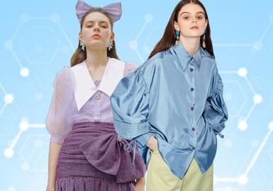 根据POP 6月用户下载量TOP100女装衬衫数据分析,简约中淑、少淑女风格为本月内主要关注风格,时尚休闲风格的衬衫下降幅度偏大。图案多以花卉为主,少量的条纹和动物图案。荷叶边和拼接、刺绣装饰工艺关注度依然较高,解构款式相对有所下降。