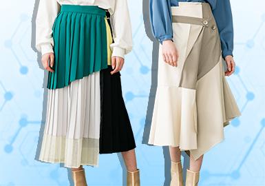 根据POP 6~7月用户下载量TOP100女装半裙数据分析,半裙的风格以简约中淑为主,新锐设计和少淑女风格占比呈现上升趋势;在面料的选取上风衣面料占比呈上升趋势而格纹面料明显下降,半裙在棉麻及欧根纱面料选取上保持稳定;工艺上,以解构、拼接为主要工艺手法,随着美好年代--复古风的回归,抽绳元素应用也有明显提升。