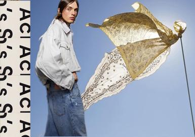 Acne Studios 2020春夏的复古潮流给予少年更多肢体信息的延伸,流苏的点缀更模糊大衣廓形边界。本季整体在多个单品上同样维持了品牌一直以来的简约风格。标志性剪裁和饰有功能性口袋的oversize款在简洁中透露出细节的用心。不透明褶皱尼龙制成的牛仔夹克、让皮肤若隐若现的格纹裤装、超大设计的皮质凉鞋......