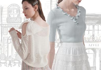 AIVEI品牌设计风格浪漫俏丽、轻熟雅致、时尚律动,为都会精致女性打造活力与优雅并存的服饰系列。精巧柔美的线条演绎出女性浪漫俏丽的身姿,优雅大方的廓形诠释女性轻熟雅致的姿态,经典设计元素结合现代流行风潮、呈现出特有的时尚律动风格。