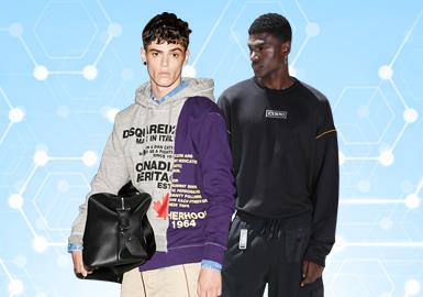 根据POP7月份用户下载量的TOP100男装卫衣数据分析,时尚休闲风格占比35%,解构版卫衣在本月成为重点的关注对象,工艺方面线绣以及结构线的处理会是一大亮点,对于卫衣的辅料选择,除了上月爆火的贴标,创意帽绳正呈现上升趋势。