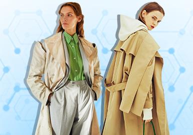 根据POP 7-8月用户下载量TOP100女装风衣数据分析,简欧中淑、棉麻解构风格为月内主要关注风格,时尚休闲款式关注度依然颇高。廓形上应用中短款增多,A型摆风衣成为风衣重点廓形。拼接、撞色与抽绳工艺关注度依然较高。其中,撞色拼接工艺关注度回升,传统经典款风衣仍是设计参考的关键。