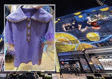深圳零售市场女装毛衫的整体风格以中淑为主,主要通过细节设计来突出浪漫的女性化特质,娃娃领、木耳边、蕾丝、蝴蝶结等将淑女气质巧妙衬托;细针化的针法应用彰显细腻情感;而多元素组合的菱格图案展现出更多的俏皮感。