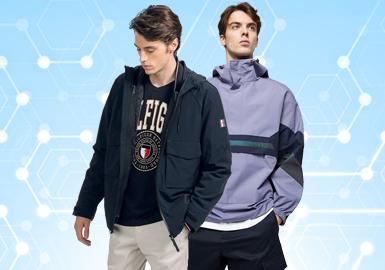 根据POP8月份用户下载量的TOP100男装夹克数据分析,运动休闲风格占有主要位置,而在廓形的选择上,除了基础款的选择外,功能性特点也成为本季夹克廓形的重要卖点,细节的设计上在包容了外观的需求之余也更突出了户外功能性。