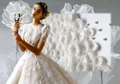 立體花卉--女裝婚紗工藝趨勢