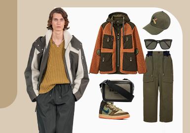 型男的时尚穿搭--男装颗粒绒组货搭配