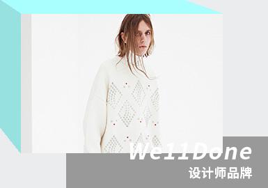 "WE11DONE 的设计语言为""可穿戴的酷"",融入街头风,另类设计颠覆简单定义。Free Size是品牌标签,兼具年轻帅气与俏皮冷静,以现代方式诠释复古版型。深受各大明星喜爱,私服穿搭首选。2021/22秋冬系列,铆钉、亮钻、皮草元素被大量使用,先锋褶皱细节带来独特肌理感外观。西装外套及牛仔单品个性潮酷极具商业化属性。"
