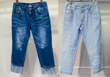 牛仔裤潮流不断演变,今季破洞牛仔裤款绝对是不可错过的流行单品,脚口毛边也是本季最潮设计点之一,串珠、压花设计为原本单调的牛仔增添个性气息。